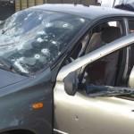 Обстреленое  авто